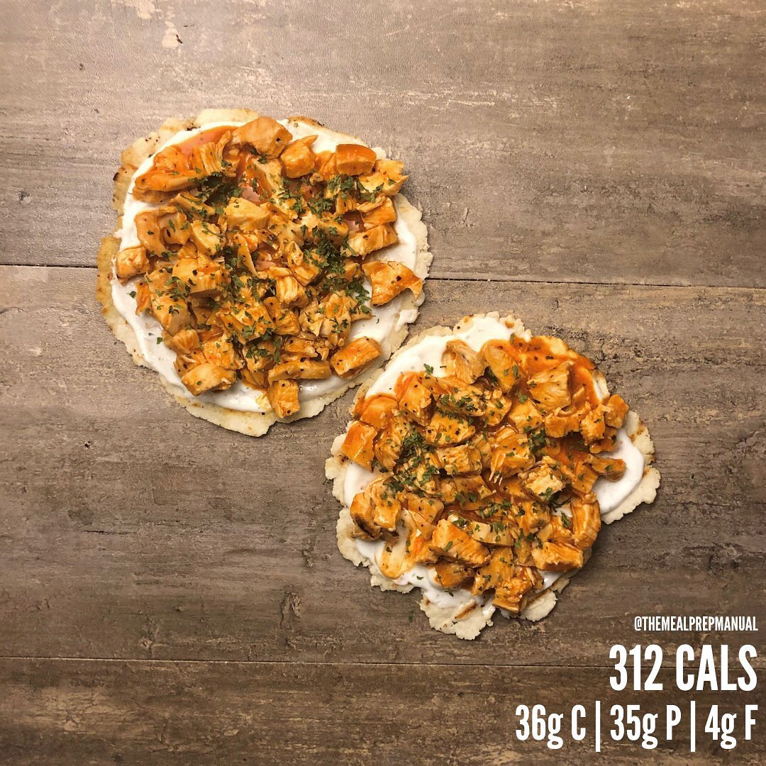 Buffalo Chicken Flatbreads. A snack that you can prep at the beginning of the we…