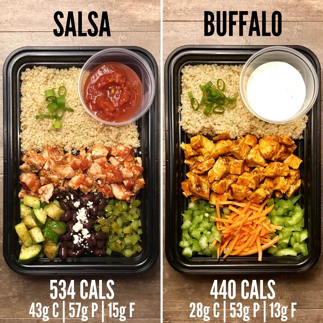 Salsa/Buffalo Chicken Quinoa Bowls from The Meal Prep Manual – 60 Minute Meals @…