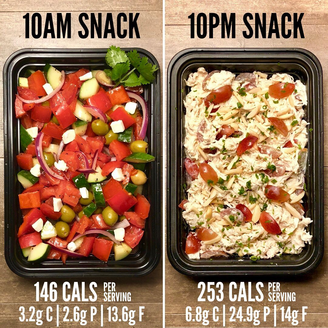Greek Salad and Chicken Salad snack recipes from The Meal Prep Manual-1st Editio…