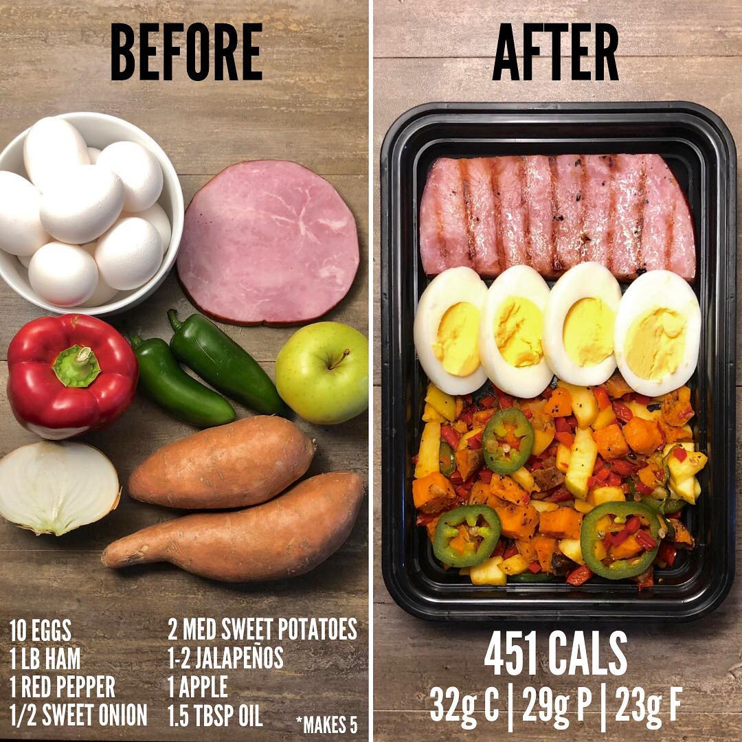 Jalapeño Apple Sweet Potato Hash with Ham and Eggs. This is my favorite meal pre…