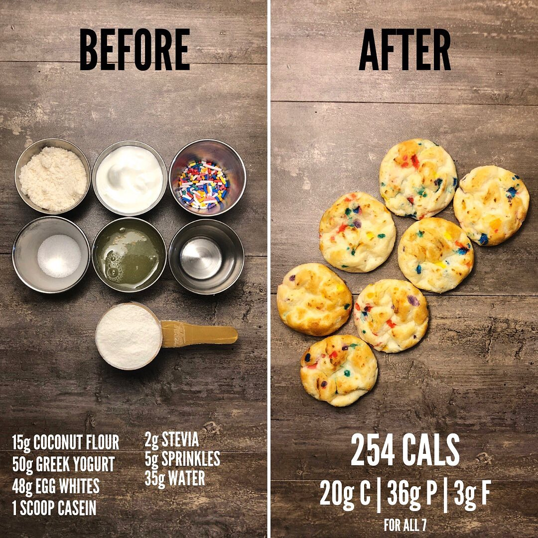 Funfetti Protein Cake Bites. A high protein sweet snack that can be used as a pe…