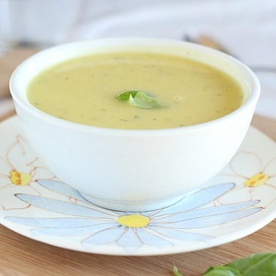 Rich and creamy summer squash and basil soup made in the Instant Pot for conveni…